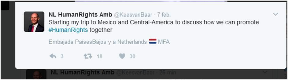 Imagaen tuit Embajador de DDHH