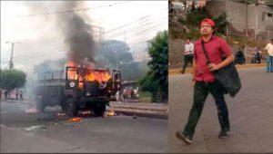 Al universitario Enrique Urbina lo medios corporativos involucraron en la quema de un comando militar. Lo confunde en el físico con al actor materia el hombre de camisa roja